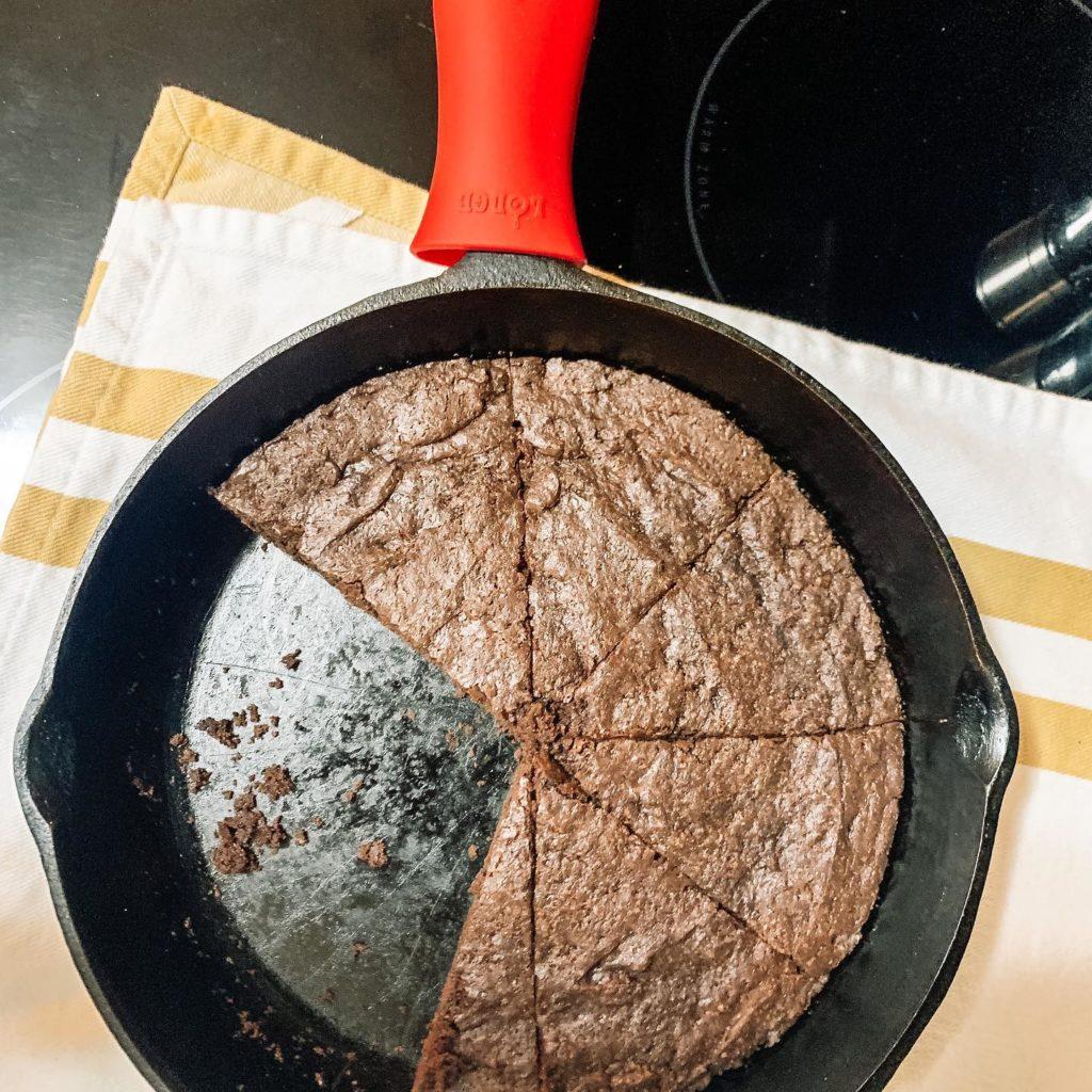 vegan chocolate skillet brownies half gone