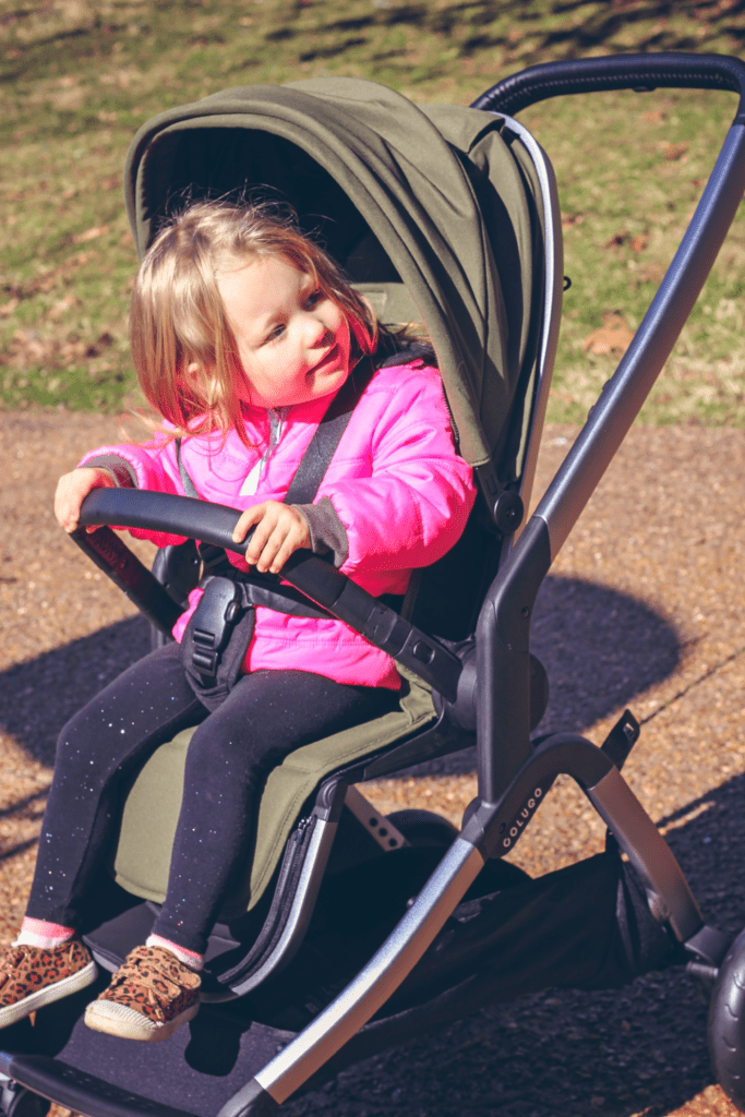 the handles on this stroller are covered in vegan leather.
