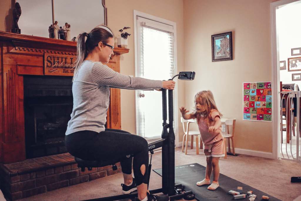 working out while entertaining a toddler